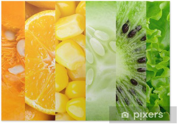 Plakat Kolekcja z różnych owoców i warzyw - Do kuchni