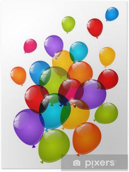 Plakat Kolor błyszczący balony na białym - Świętowanie