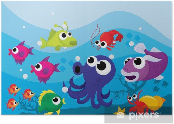 Plakat Kolorowe Cartoon Sea Creatures - Zwierzęta żyjące pod wodą