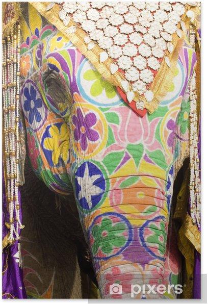 Plakat Kolorowe głowa słonia, Jaipur, Radżastan, Indie - Ssaki
