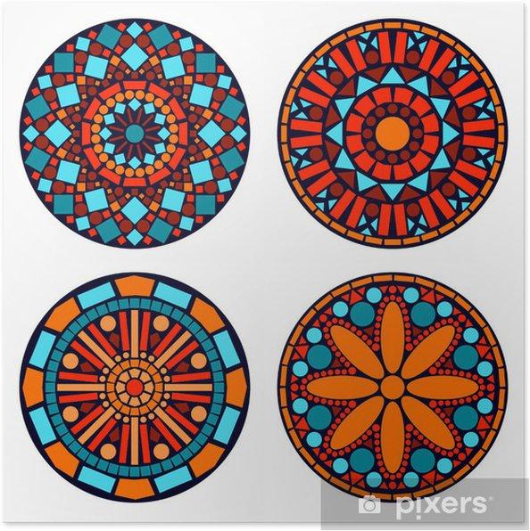 a344be5329766a Plakat Kolorowe mandale ustawione koło kwiatów w kolorze niebieskim czerwony  i pomarańczowy - Naklejki na ścianę
