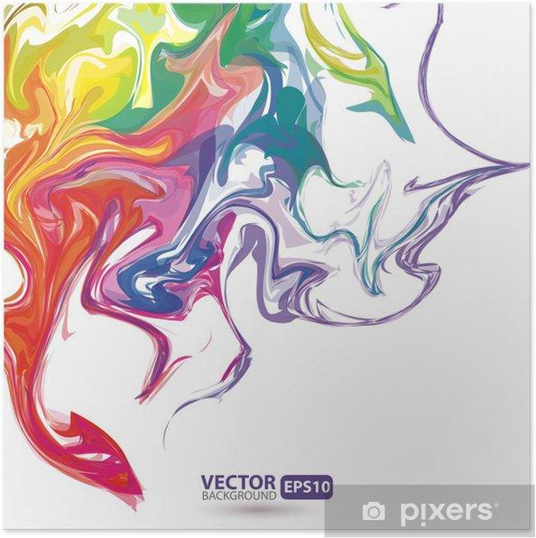 Plakat Kolorowe plamy farby tle abstrakcyjna - Tła