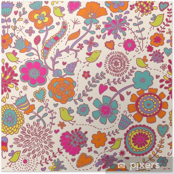 Plakat Kolorowe powtarzalne deseń - ptaki w kwiatach - Tematy