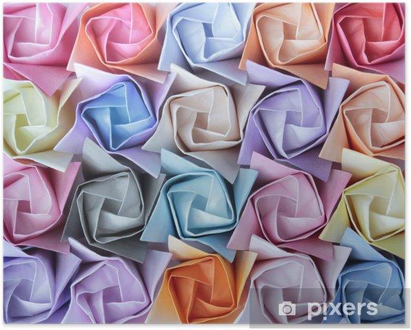 Plakat Kolorowe róże papieru ułożone w ozdobnym tle - Tła