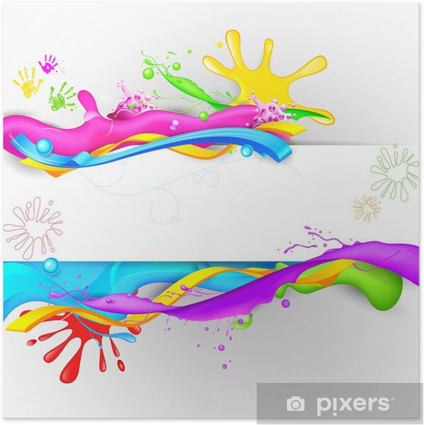 Plakat Kolorowe tapety Splash w Holi - Abstrakcja