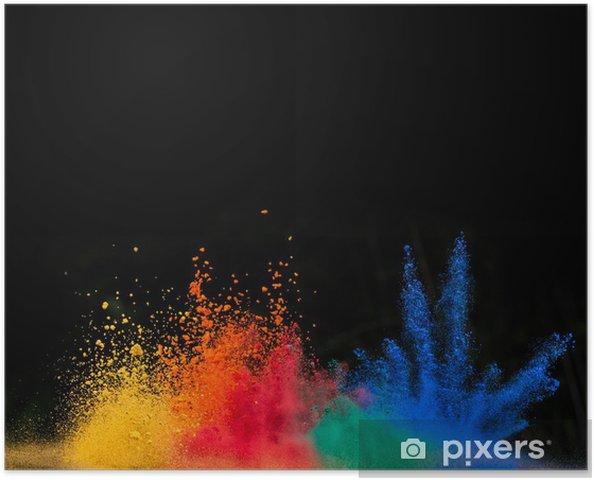 Plakat Kolorowe wybuchem pyłu na czarnym tle - Tła
