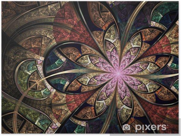 Plakat Kolorowy kwiatowy witraże, sztuka fraktalna Ilustracja cyfrowa - Tła