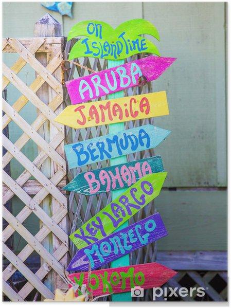 Plakat Kolorowy znak plaży - Woda