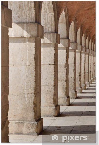 Plakat Kolumnada w Pałacu Królewskiego w Aranjuez. Madryt (Hiszpania) - Miasta europejskie