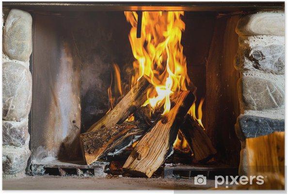 Plakat Kominek z ogniem w górskiej chacie w Alpach - Tematy