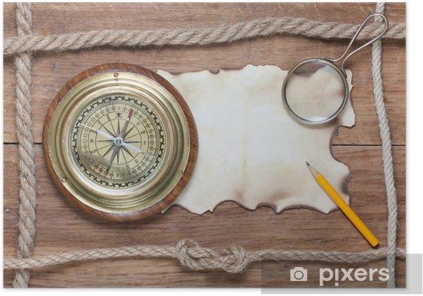 Plakat Kompas, spalony papier, ołówek, szkło powiększające i liny na drewno - Tła