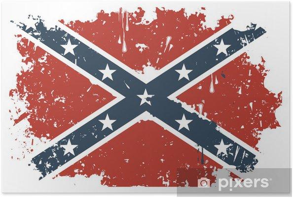 Plakát Komplic Rebel vlajka grunge - Amerika