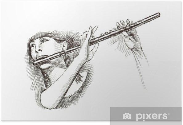 Plakat Końcówka markera twarda, rysunek odręczny - muzyk - Muzyka