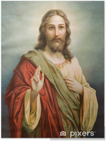 Plakat Kopia obrazu typowej katolickiej Jezusa Chrystusa - Tematy