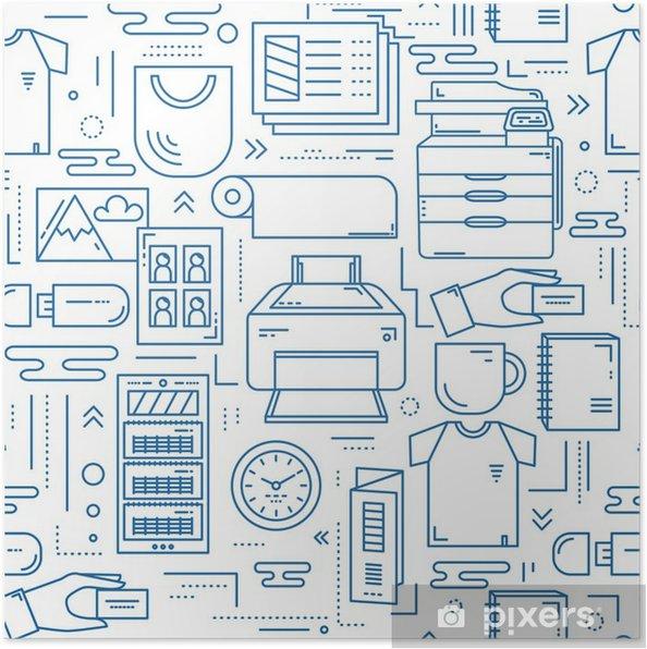 Plakat Kopiować centrum liniowy wzór bez szwu - Zasoby graficzne