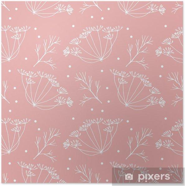 Plakát Kopru nebo fenyklu květy a listy vzorek. - Rostliny a květiny