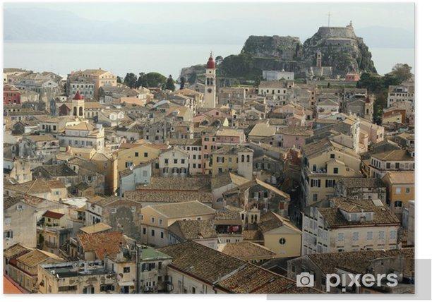 Plakát Korfu města a hrady - Evropa