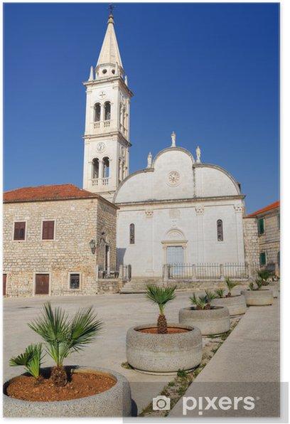 Plakat Kościół Najświętszej Marii Panny, Jelsa, Hvar, Chorwacja - Europa
