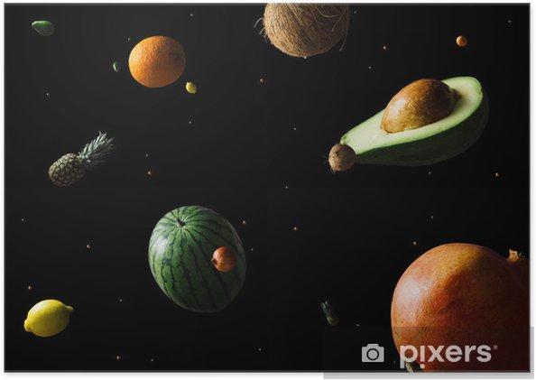 Plakat Kosmiczne lub planet kosmiczne streszczenie tło. abstrakcyjne tło owoców. przestrzeń twórcza. koncepcja letniego jedzenia. - Nauka
