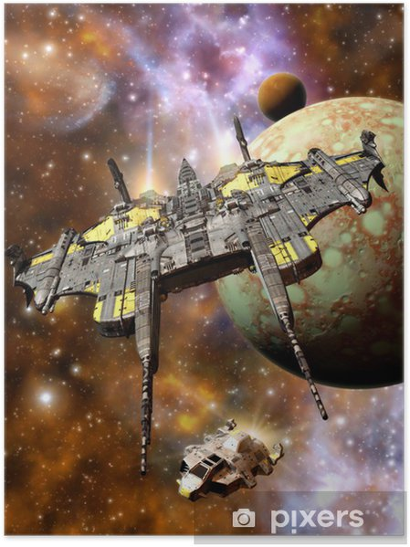 Plakat Kosmicznym i przestrzeń piraci - Style