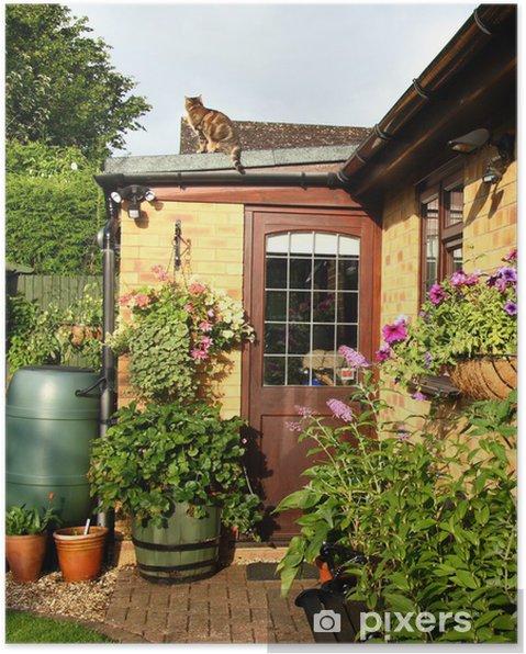Plakat Kosze kwiatowe i osłonki w angielskim ogrodzie Powrót - Dom i ogród
