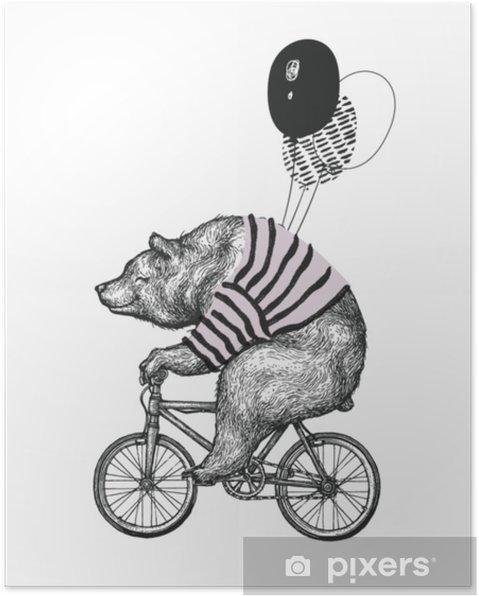 Plakat Koszulka Z Nadrukiem Na Balon Z Nadrukiem Rowerowym Vintage Maskotka ładny Rower Rowerowy Zabawy Grizzly Na Białym Tle Czarny Tatuaż Zwierzę