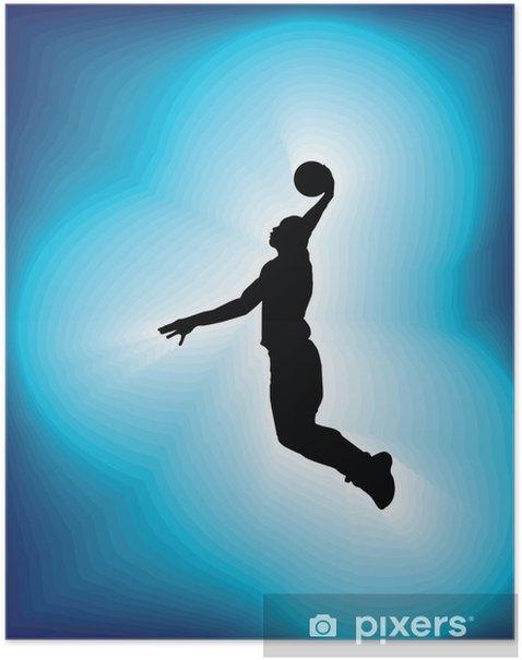 Plakat Koszykarz w akcji. ilustracji wektorowych - Sporty indywidualne
