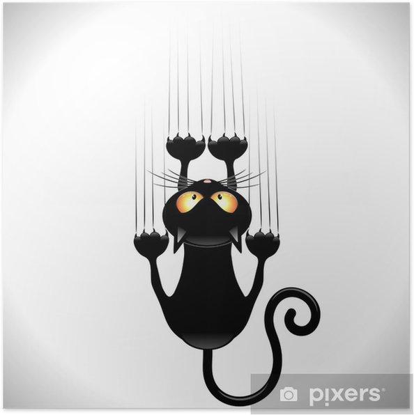 Plakat Kot kreskówka zarysowania czarny kot na ścianie ściana zarysowania - Ssaki