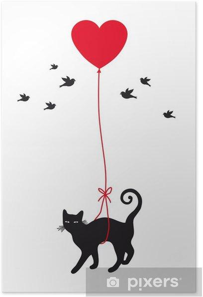 Plakat Kot z balonu serca, wektor - Styl życia