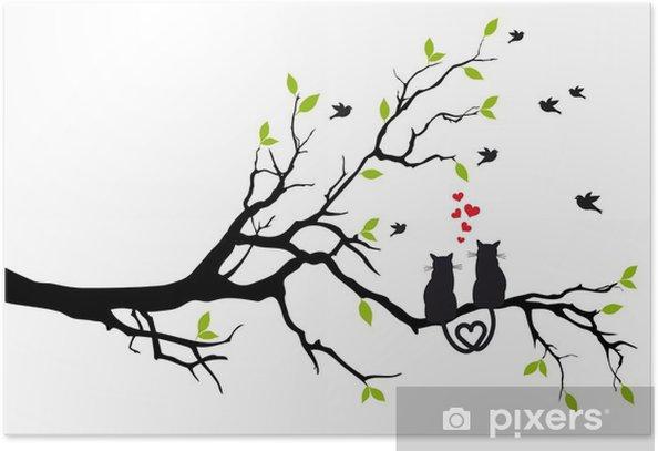 Plakat Kotów w miłości na gałęzi drzewa, wektor - Przeznaczenia