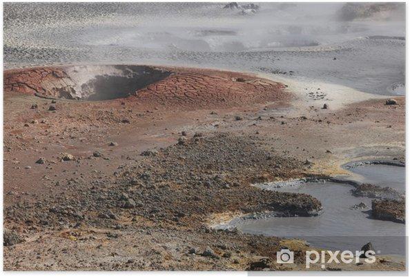 Plakat Kraina lodu. Reykjanes półwysep. Obszar geotermalna Gunnuhver. - Europa
