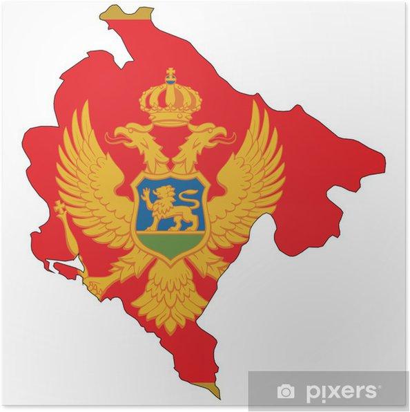 Plakat Kraj konspektu z flagą Czarnogóry - Miasta azjatyckie