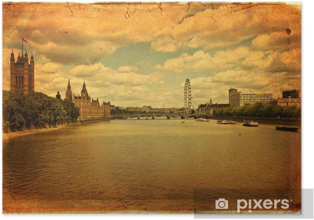 Plakát Krajina, řeka Temže, Londýn - Evropská města
