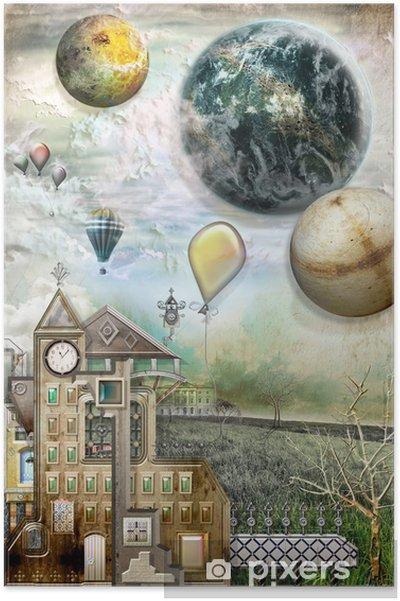 Plakát Krajina s starobylé vesnice - Čas