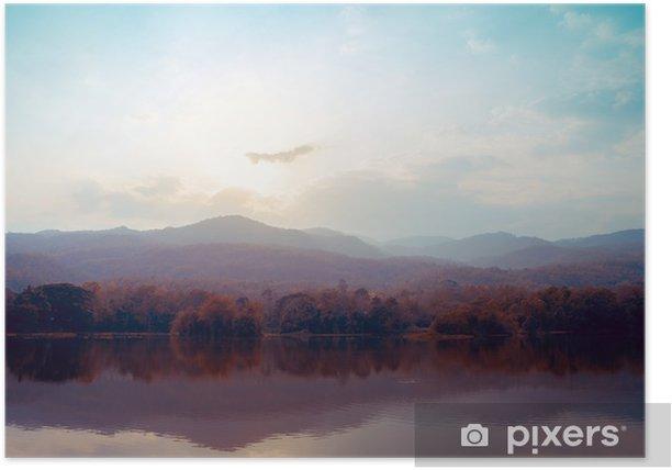 Plakat Krajobraz jeziora gór jesienią - style klasyczne. - Krajobrazy
