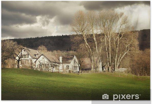 Plakat Krajobraz z gospodarstwa w świetle dramatycznych - Rolnictwo