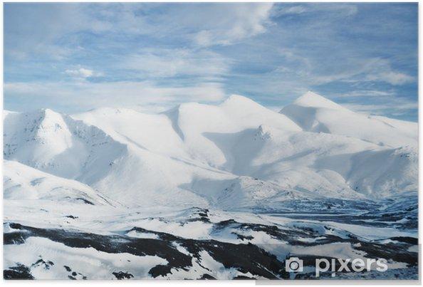 Plakat Krajobraz z Islandii, ośnieżone szczyty górskie - Góry
