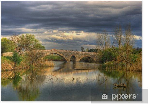 Plakat Krajobraz z starego kamiennego mostu - Pory roku