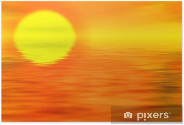 Plakat Krajobraz zachód słońca - Niebo