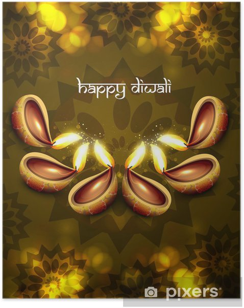 Plakát Krásná diwali diya pozadí vektorové ilustrace - Slavnosti