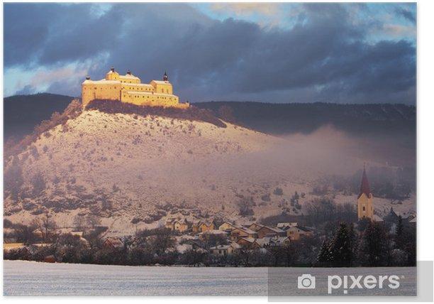 Plakat Krasna Horka Castle - zimowy krajobraz piękno, Słowacja - Pory roku