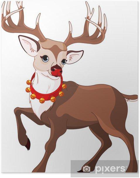 Plakát Krásná karikatura sobů Rudolf - Mezinárodní svátky