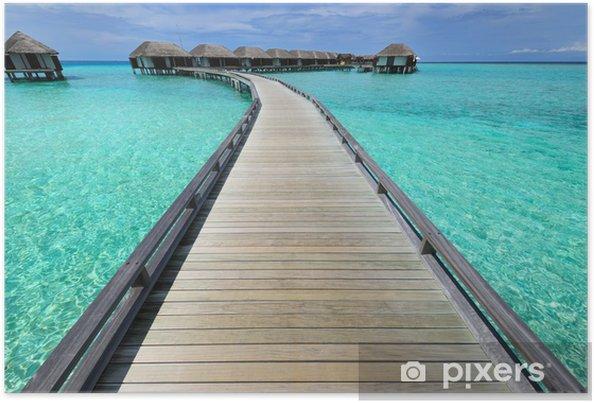 Plakát Krásná pláž s vodními bungalovy - Prázdniny