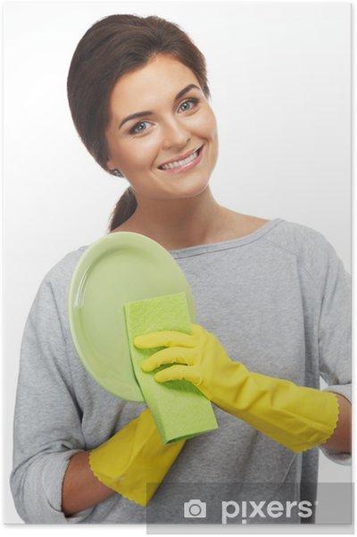 Plakát Krásná veselá bruneta žena v rukavicích čištění desky - Domov a zahrada