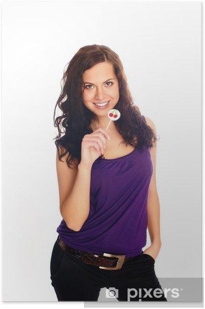Plakát Krásná žena lízání lízátko - Žena