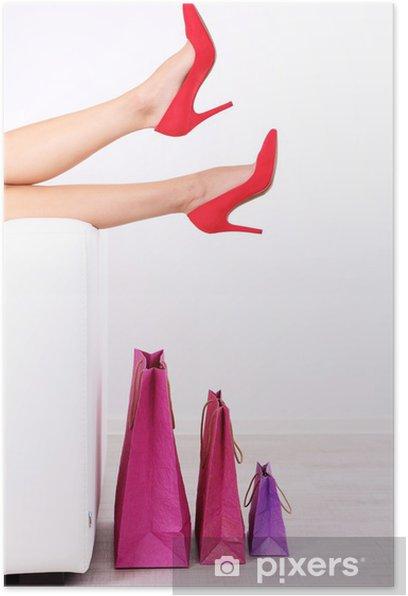 Plakát Krásné ženské nohy v červené boty - Témata