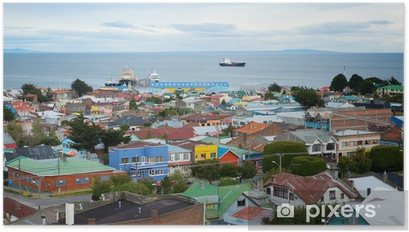 Plakát Krásný výhled na Punta Arenas s úžiny Magellan - Amerika
