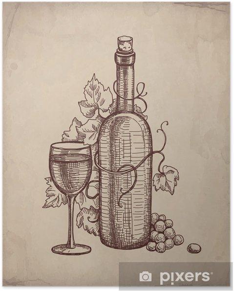 Plakat Kresba Tuzkou Lahev Vina Pixers Zijeme Pro Zmenu