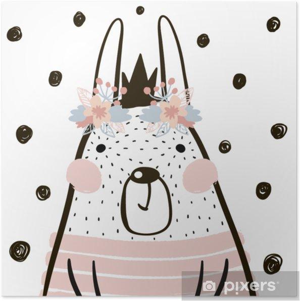 Plakat Kreskówka królik dziewczyna z koroną w skandynawskim stylu. dziecięcy nadruk na żłobek, dziecięcy strój, plakat, pocztówka. ilustracji wektorowych - Zasoby graficzne
