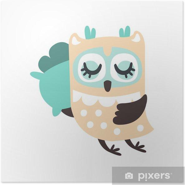 Plakat Kreskówka sowa ptak śpi kolorowy charakter wektor ilustracja - Zwierzęta